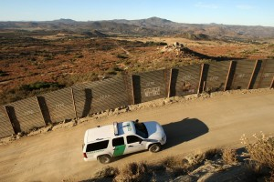 A US Border Patrol agent patrols the US/Mexico border