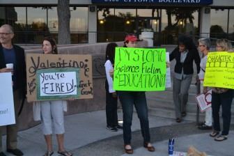 Protesters at Albuquerque Public Schools. Photo Credit: Joey Peters