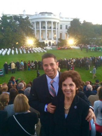 Ben Ray Luján with his mother Carmen Luján ahead of Pope Francis' address at the White House. Photo via Ben Ray Luján's Twitter account.