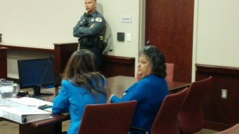 Attorney Erlinda Johnson (l) and her client Dianna Duran (r) awaiting a judge's decision on her plea deal in October, 2015.