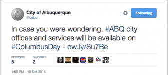 Screenshot at tweet from the city of Albuquerque account, taken on the morning of 10/12/15.