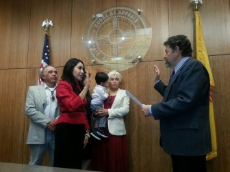 Idalia Lechuga-Tena's swearing in. From right to left: Ubaldo Lechuga, Idalia Lechuga-Tena, Celeste Lechuga-Tena, Sebastian Martinez Lechuga, Marta Tena de Lechuga, Judge Bustamante. Courtesy Photo