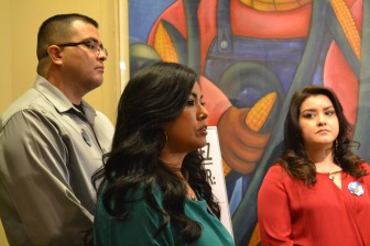 Nicole Chavez with two other parents of slain children speaking in favor of tough crime laws.