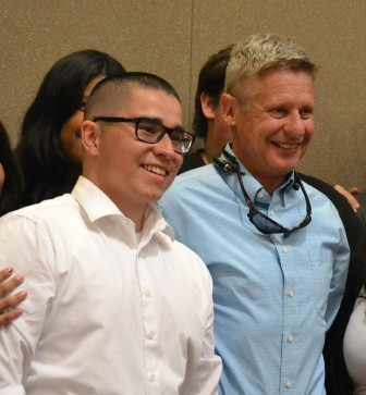 Michael Aguilar of Young Americans for Liberty with Gary Johnson