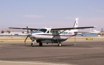 A Cessna 208B N301A, similar to the planes flown by the FBI. Photo Credit: Bill Larkin/Wikicommons