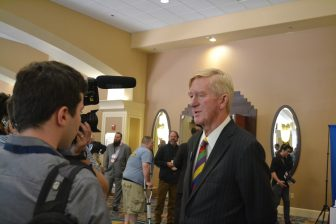 Bill Weld speaking to media at the Libertarian National Convention.