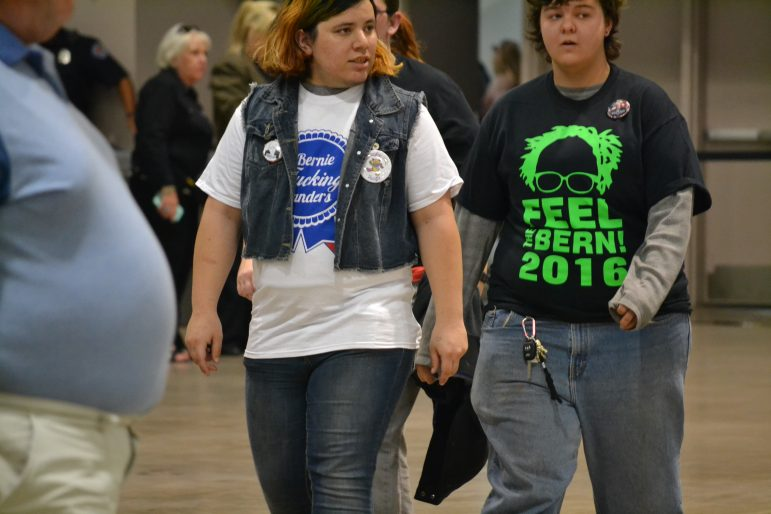 Two Bernie Sanders supporters at a rally at the Albuquerque Convention Center in Albuquerque on May 20, 2016.