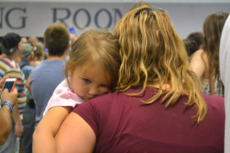 One of the youngest members of the crowd at the Bernie Sanders rally.