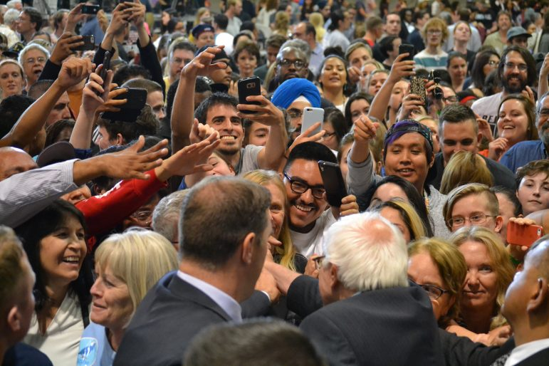 Bernie Sanders greeting the crowd after his rally at the Albuquerque Convention Center in May 2016.