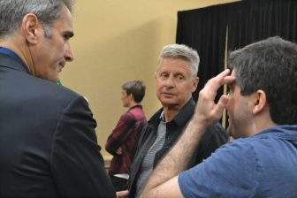 Gary Johnson hears from supporters in his campaign office
