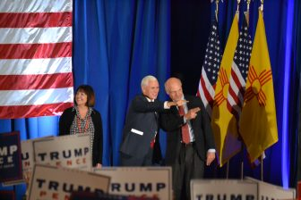 Republican vice presidential candidate Mike Pence and U.S. Rep. Steve Pearce at a town hall in Albuquerque.