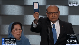 Screenshot of Khizr Khan and his wife at the Democratic National Convention in Philadelphia.