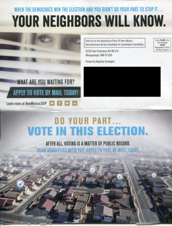 The full mailer sent by the Republican Party of New Mexico.