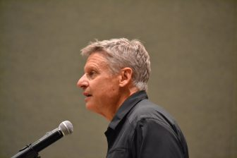 Gary Johnson at a University of New Mexico rally in October of 2016.