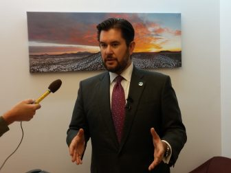 House Minority Leader Brian Egolf, D-Santa Fe, speaks to reporters at the 2016 special session.