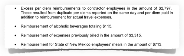 Auditor finding: alcohol, meals, per diem