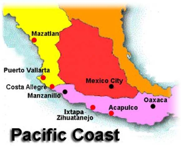 Pacific Side Of Mexico Map.Map Mexico Pacific Side