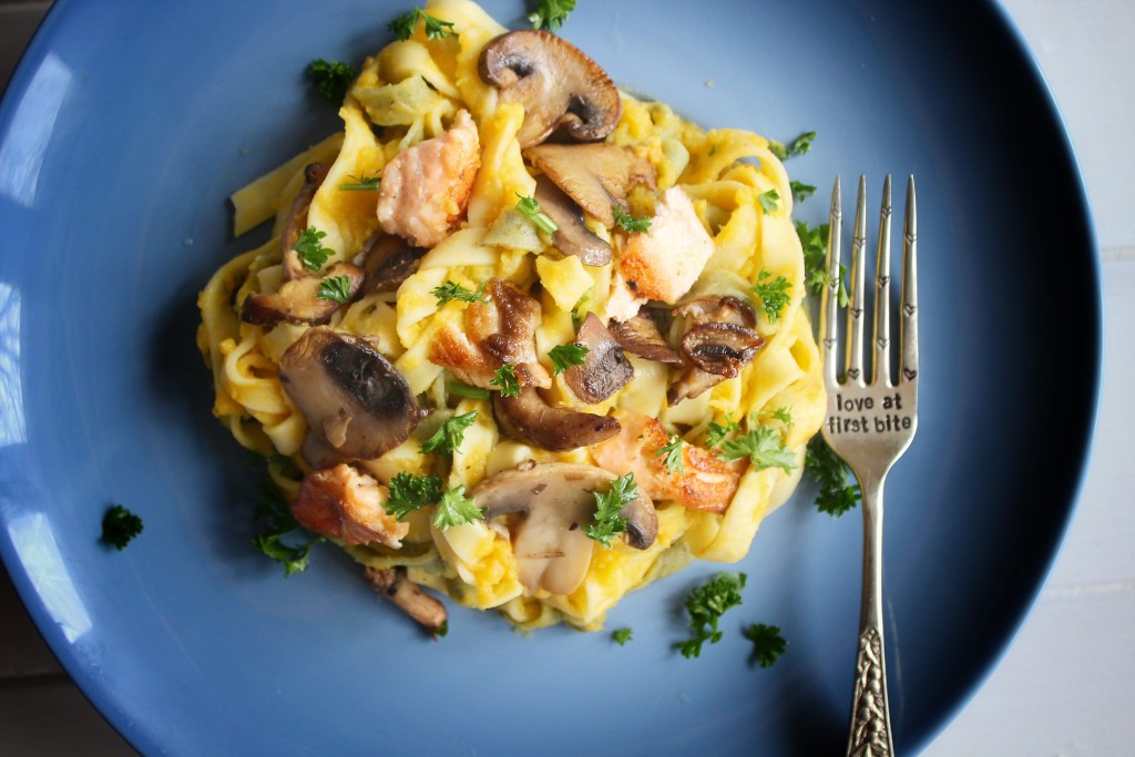 Fettucine with Butter Nut Squash Sauce and Seared Salmon