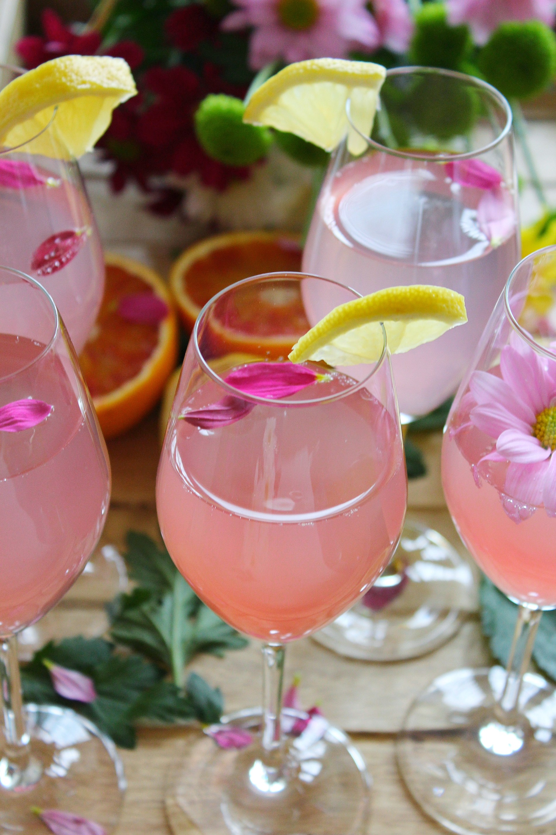 Sour Lemon Pink Mimosas