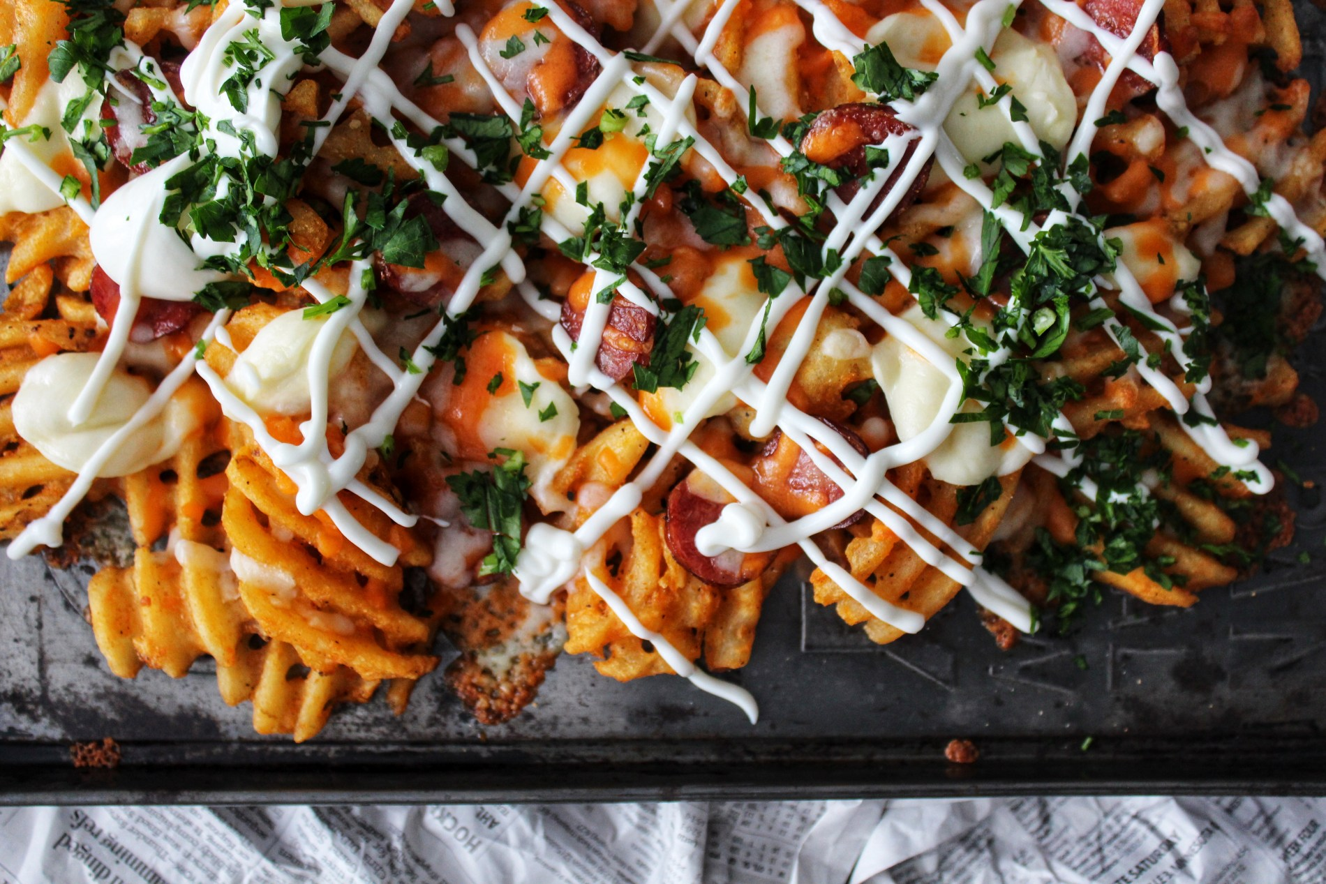 GAME DAY LOADED SWEET POTATO WAFFLE FRIES