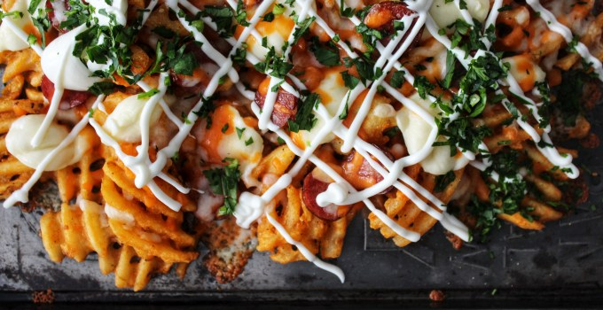 Baked & Loaded Sweet Potato Waffle Fries