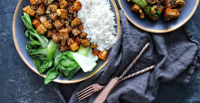 Indonesian Sticky Sesame Tofu