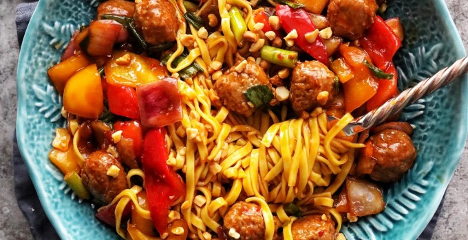 Korean Meatballs with Egg Noodles