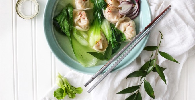Easy Wonton Soup with Baby Bok Choy