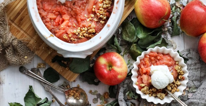 Roasted Pink Applesauce with Crunchy Spiced Apple Granola and Vanilla Ice Cream