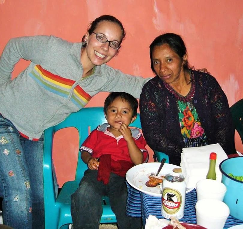 Stony Brook University alumna Helen Jolly, left – who served as an Agriculture Volunteer in Guatemala from 2003 to 2005 – works on campus at the university as a Peace Corps Recruiter while pursuing her doctorate in sociology.