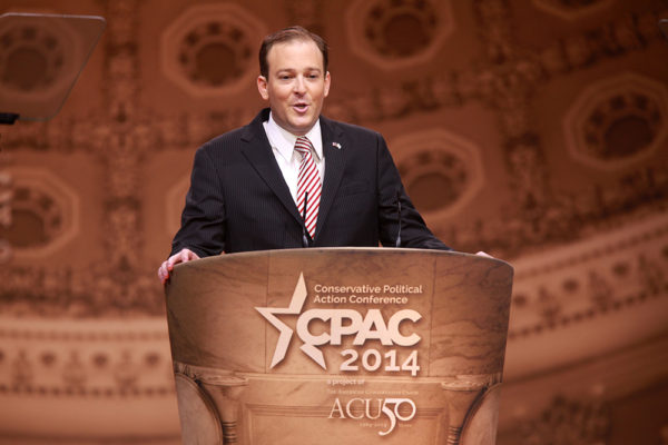 Congressman Lee Zeldin of New York speaking at the 2014 Conservative Political Action Conference in National Harbor, Maryland.