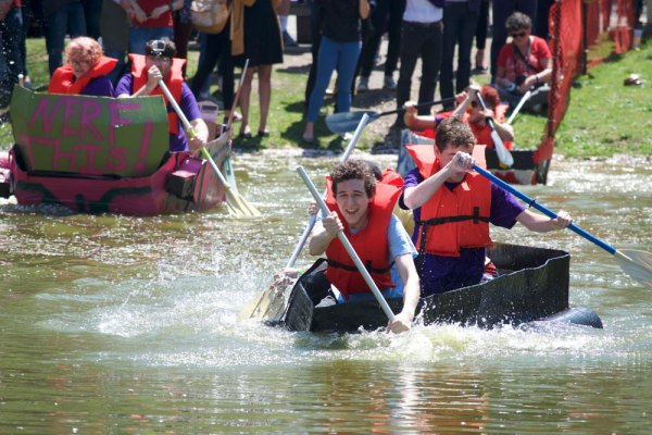Roth Regatta is an annual event in which students build boats made of cardboard and duct tape to race across Roth Pond. LUIS RUIZ DOMINGUEZ/THE STATESMAN