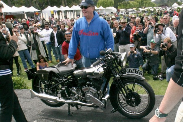 1938 Brough Superior SS-80 owner Gene Brown with the 2011 Quail Motorcycle Gathering's Best of Show winner.
