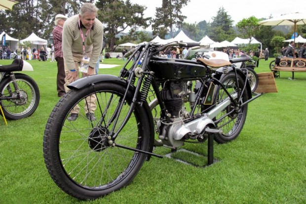 Paul Hudson owns this historic motorcycle that Jimmi Guthrie rode in period at the Isle of Man.  The 1925 New Hudson Factory Racing motorcycle is an award winner at The Quail for best representing the spirit of the Isle of Man racing history. The criteria for becoming an award winner is the collective quality of the restoration, originality, correctness and/or preservation of the motorcycle.