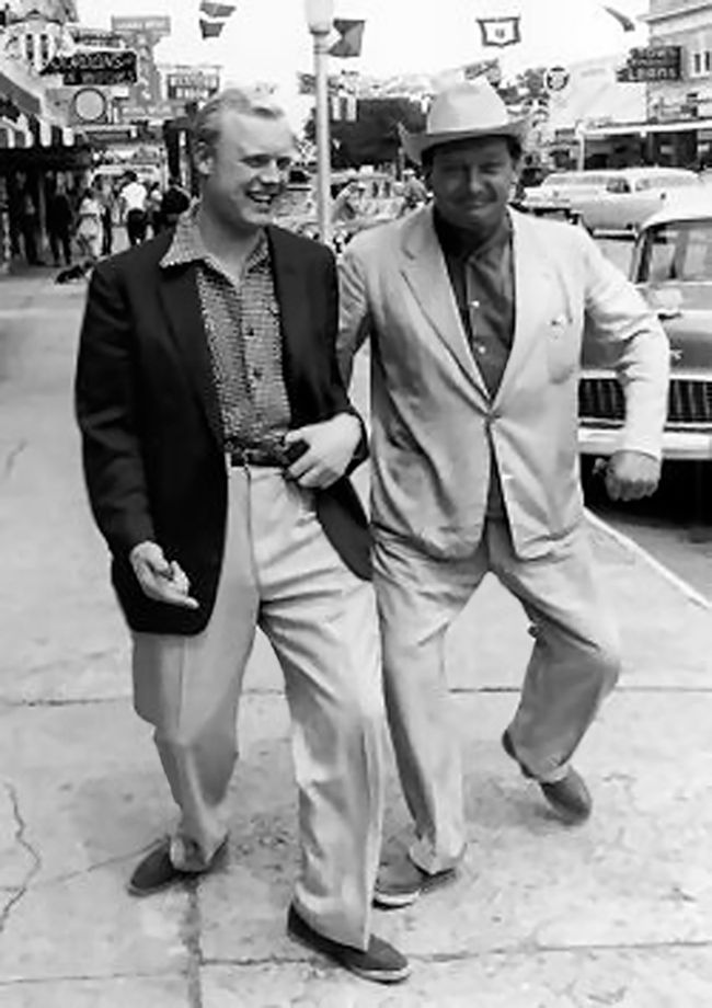 Mike Hawthorn and Duncan Hamilton enjoying some free time in downtown Sebring in the days prior to the 1956 Sebring 12 Hours