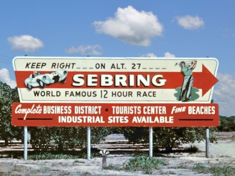 In the late '50s and early '60s the 12 hour race was Sebring's claim to fame. Today many Sebring locals would prefer that the town be recognized as a nice place to retire and not as a place for motorsports. SIR Photo.