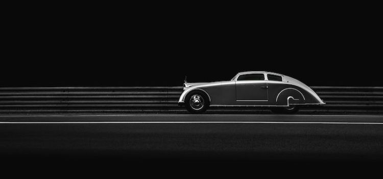 1936 Voisin C28 Aerosport profile at night