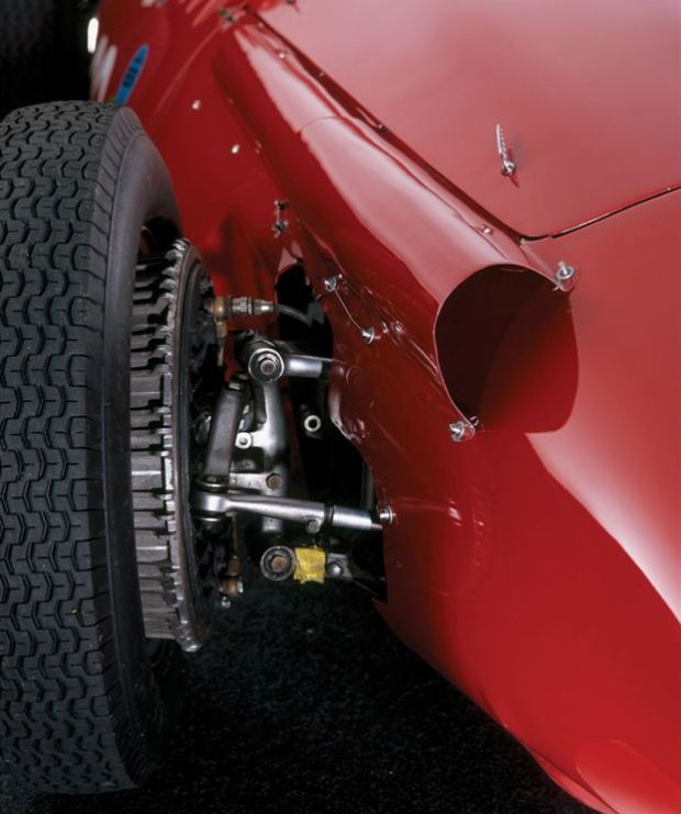 Close up picture of the 1956 Maserati 250F that won the 1956 Monaco Grand Prix driven by Stirling Moss