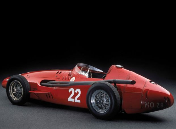 Side picture of the 1956 Maserati 250F that won the 1956 Monaco Grand Prix driven by Stirling Moss