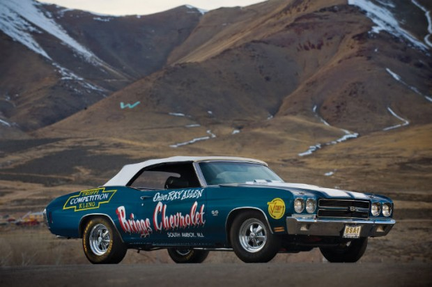 <strong>1970 Chevrolet Chevelle SS 454 LS6 Convertible - Estimate $500,000 - $700,000.</strong> Ray Allen drove to 1970 NHRA Super Stock World Championship; sold for $1,242,000 at Barrett-Jackson Scottsdale in 2006 at height of muscle car market.