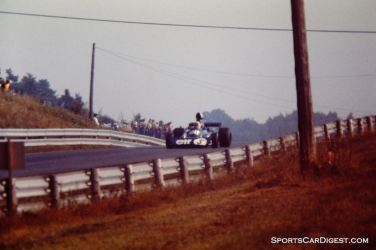 Jackie Stewart at the top of the back straight in Saturday practice