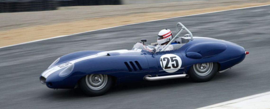 Erickson Shirley's 1959 Lister Costin Chevrolet enters The Corkscrew.