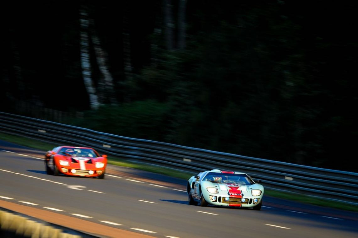 Pair of Ford GT40s at speed