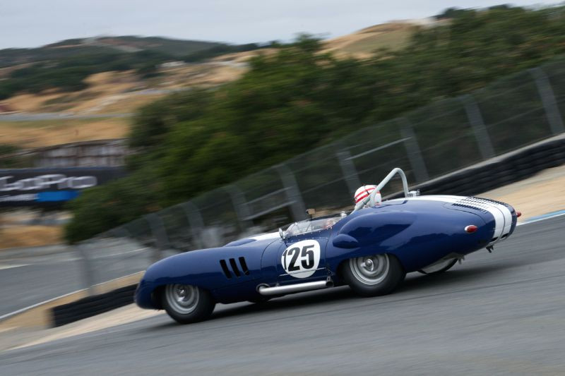 Erickson Shirley's 1959 Lister Costin Chevrolet drops down The Corkscrew.