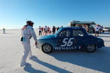 Nicolas Prost behind wheel of the Renault Dauphine