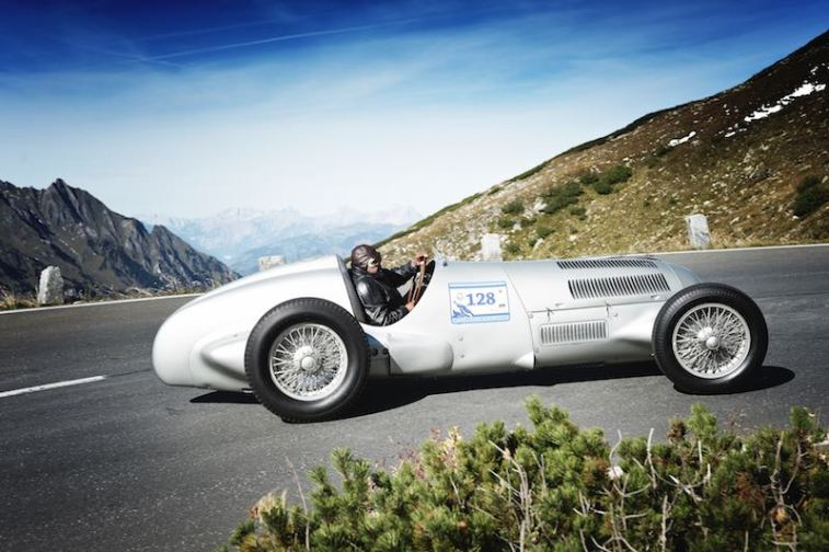Mercedes-Benz Classic at the International Grossglockner Grand Prix in 2012. Jochen Mass at the wheel of a Mercedes-Benz Silver Arrow W 125 from 1937