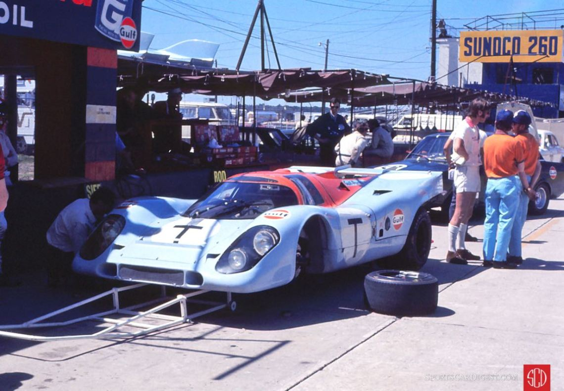 """The testing (""""T"""") Gulf 917 reserved for Jo Siffert (Photo: Gene Bussian)"""