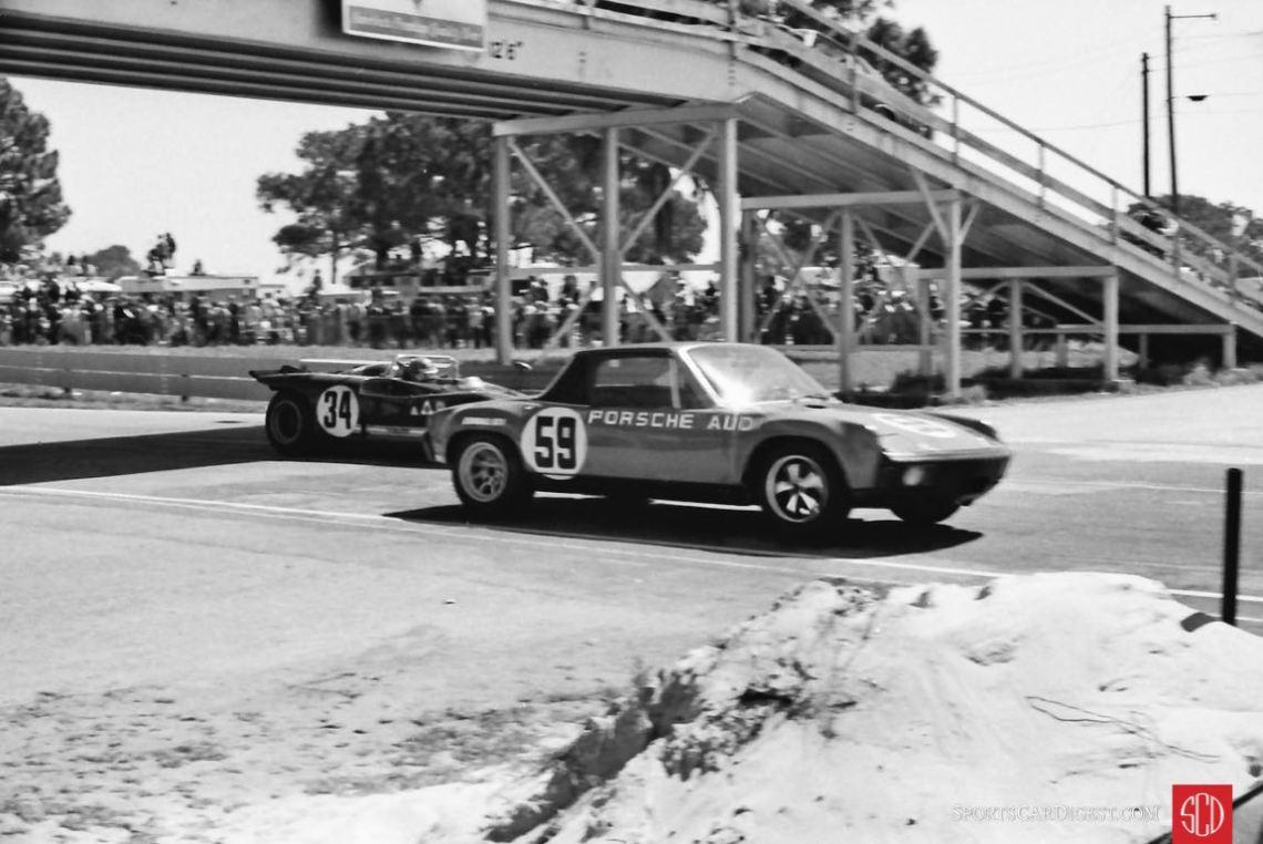 Brumos' Porsche 914/6 and an Alfa T33/3 under the vehicle bridge (Photo: Louis Galanos)