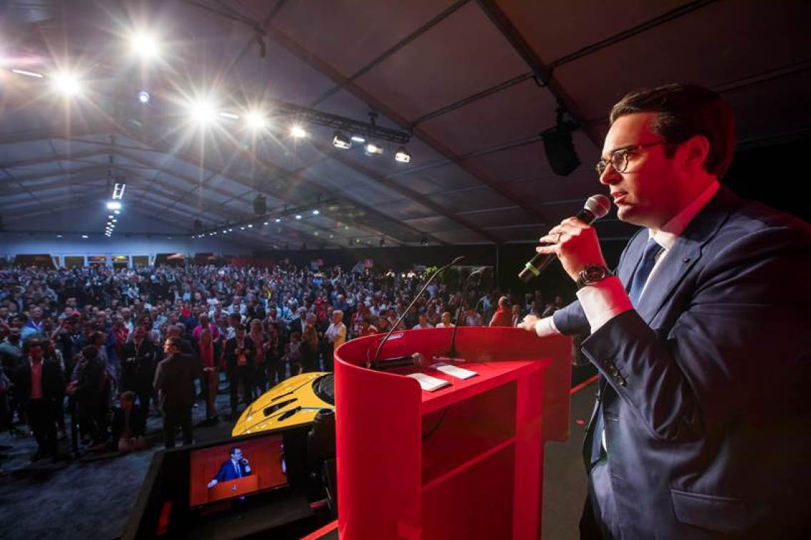 Alain Squindo, RM Sotheby's, leads the LaFerrari charity auction before a packed house during the Ferrari Finali Mondiali event in Daytona Beach, Florida