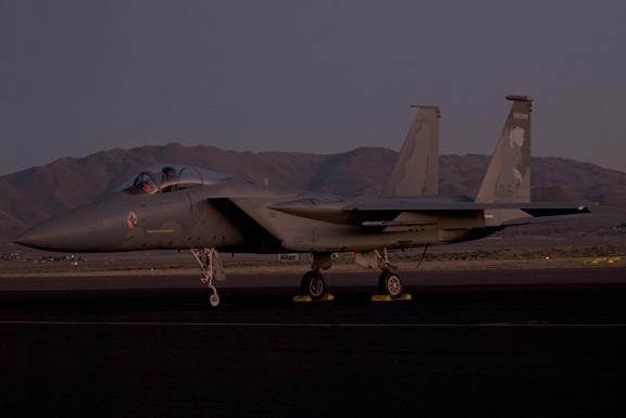 Pre-dawn flight line Oregon ANG F-15